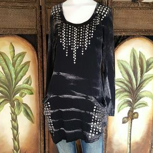 Vocal brand long tunic with bling